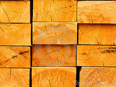 Boards from a tree in a stack
