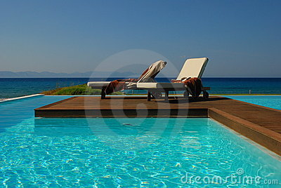 Sunbeds at the pool