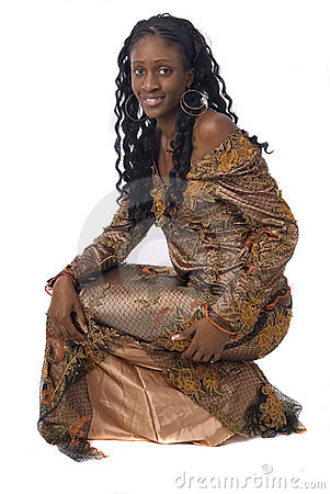 African woman wearing african clothes on white