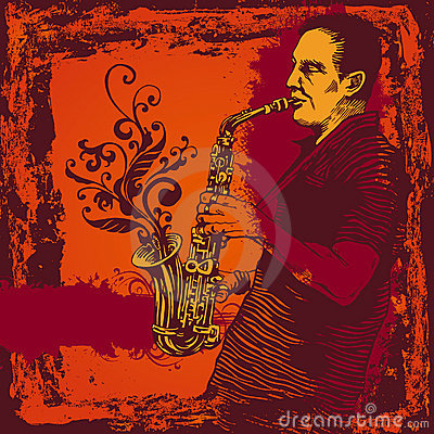 Illustration with saxophonist in grunge style