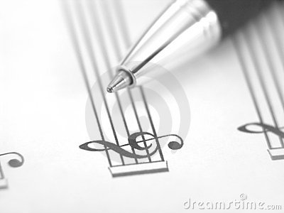 Sheet music with pen