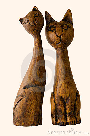 Two wooden cats