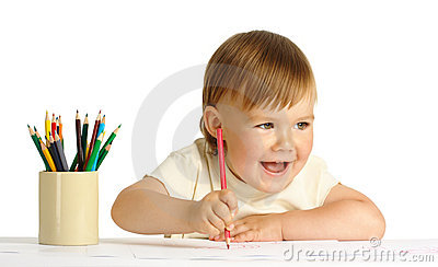 Cute happy child draw with red crayon