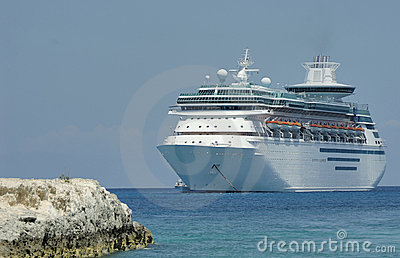 A cruise ship anchored