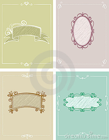4 templates of greeting cards