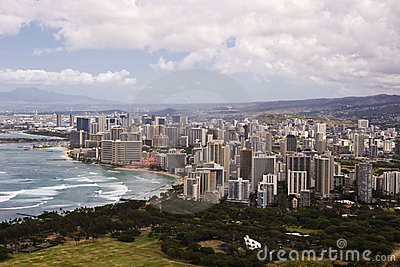 Downtown Waikiki as seen from atop Diamond Head Cr