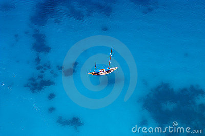 Yacht from birdview