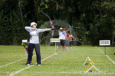 Women's Team Archery Action