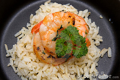 Meal with rice and shrimp