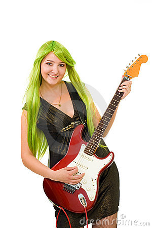 Woman with green hair and guitar