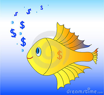 Gold fish with dollars