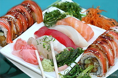 Tray with assorted sushi