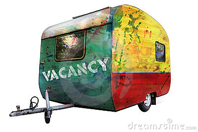 A multicolored trailer with caption Vacancy