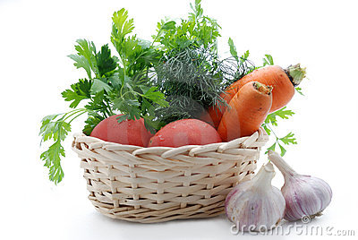 Vegetables are fresh in a basket