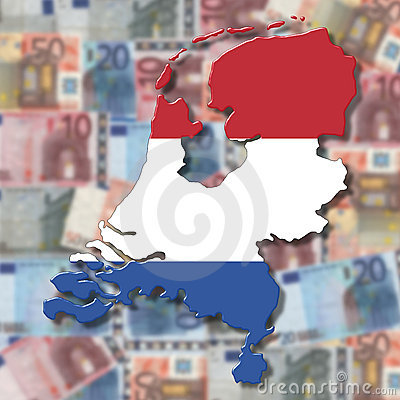 Netherlands Map flag on blurred euro