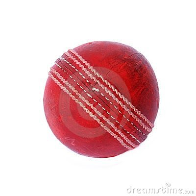 Old cricket ball isolated on white background