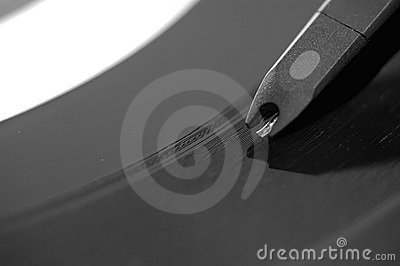 Closeup on record player