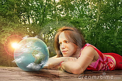 Girl watching earth sunrise