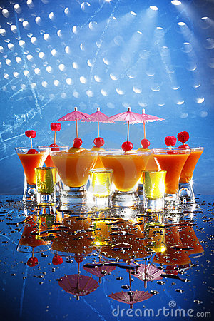 Cocktail poster on blue