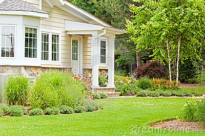 Spring landscaping home