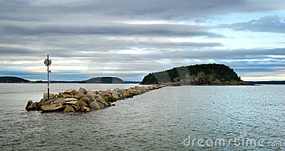 Bar Harbor breakwater wall