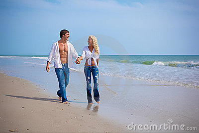 Couple on vacation on a beach