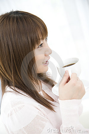 Japanese woman drinking coffee