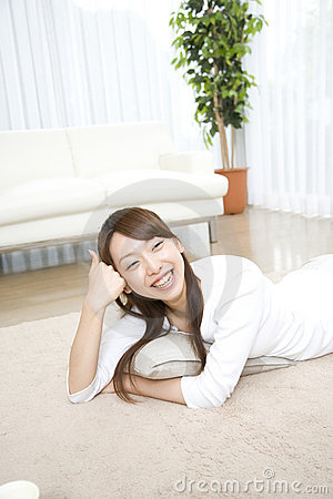 Japanese woman relaxed in the room