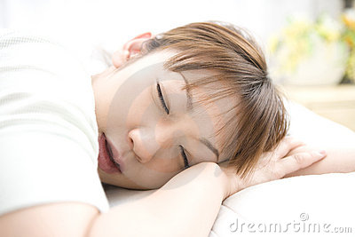 Sleeping face of Japanese woman