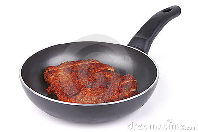 Chicken meat on fry pan