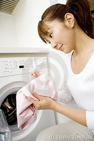 Japanese woman washing clothes