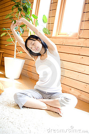 Japanese woman doing exercise