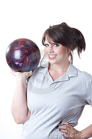 Woman with bowling ball