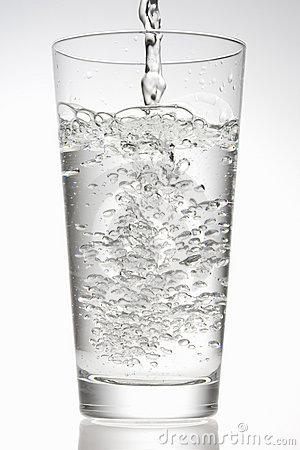 Water poured into a glass