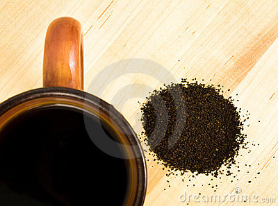 Coffee grounds with mug
