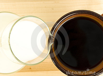 Creamer pouring into coffee