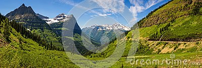 Panoramic view of Logan Pass in Glacier National Park, Montana