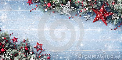 Christmas Background - Fir Branches And Baubles