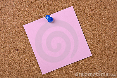 Pink note with blue pin