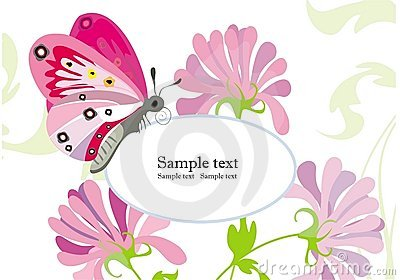 Holiday background with flowers and butterfly