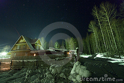 The star sky and Orion over winter village!