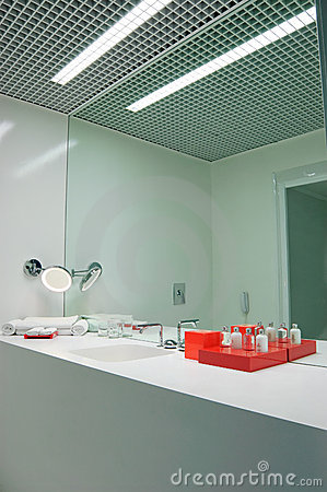 Bathroom in ultra modern hotel