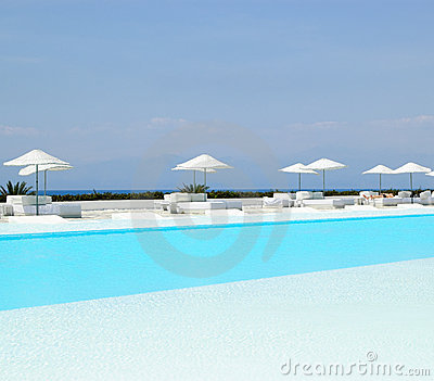 Swimming pool area at ultra modern hotel