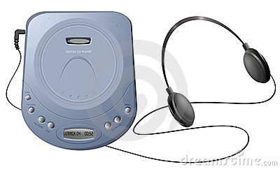 Portable CD player with headphones - Blue