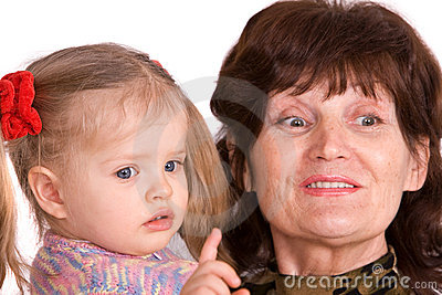 Portrait of grandmother and granddaughter.