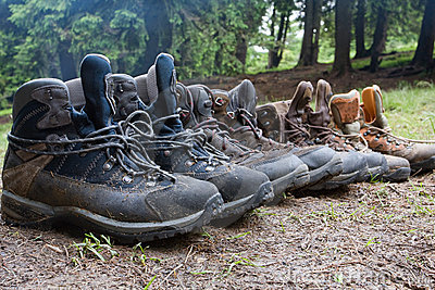 Tourists boots in forest