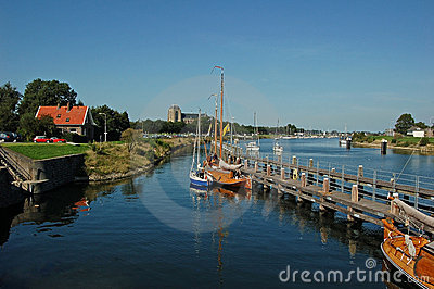 Pretty landscape with boats