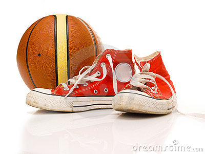Sport sneakers and basketball