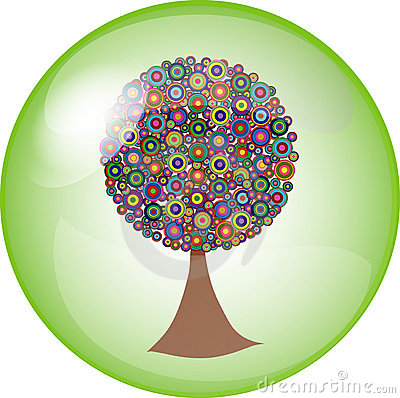 Button with colorful tree