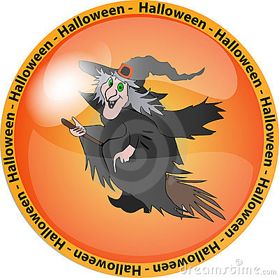 Halloween button with a witch